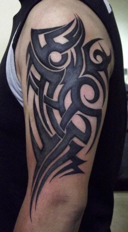 shaded tribal tattoo designs grey shade half sleeve tribal golfian