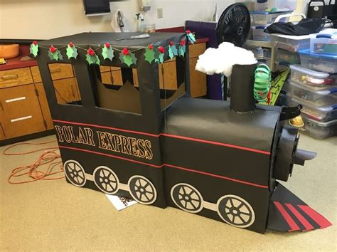 how to make a polar express paper christmas tree cardboard polar express library display our displays cardboard