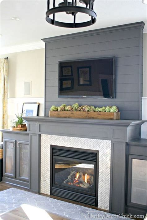 Fireplace Insert Tiles by A Diy Gray Fireplace With Herringbone Tile