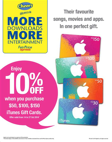 Where To Buy Discounted Itunes Gift Cards - take 10 off when you purchase itunes gift cards cheers fairprice xpress great