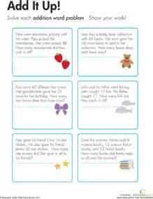 addition word problems add it up worksheet education com