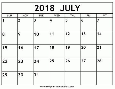 Calendar July 2018 Printable Calendar July 2018 Larissanaestrada