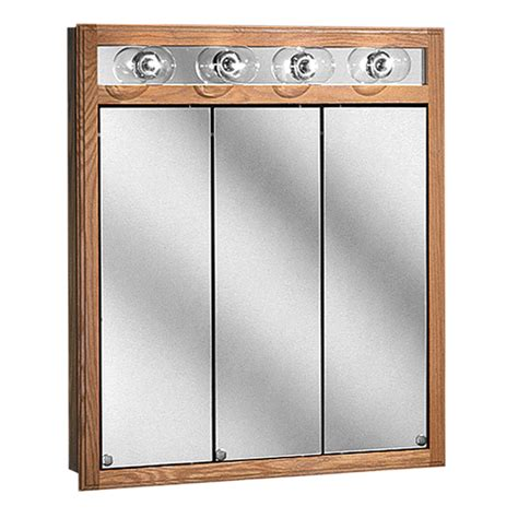 light oak wood 3 panel bathroom mirror medicine cabinet