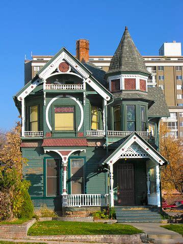 wooden victorian house  salt lake city utah stock photo