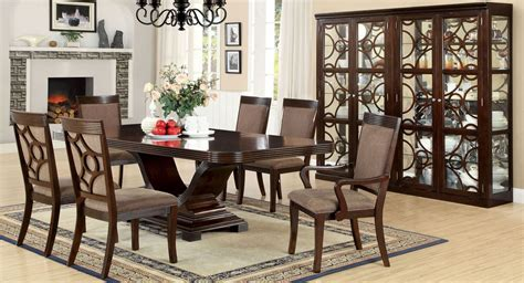 woodmont walnut rectangular trestle dining room set from