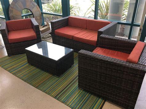 Sunbrella 4 Piece Outdoor Patio Furniture Set Wicker Rattan Sunbrella Outdoor Patio Furniture