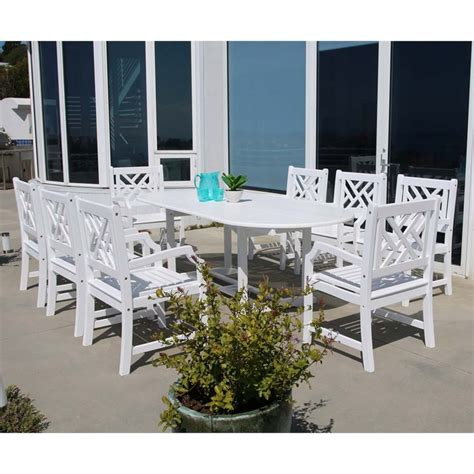 White Patio Dining Set 9 Extendable Oval Patio Dining Set In White V1335set14