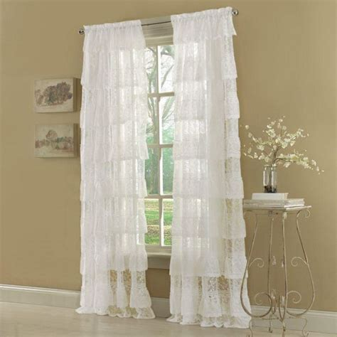 white priscilla curtains 63 quot white priscilla layered ruffled lace curtain panel