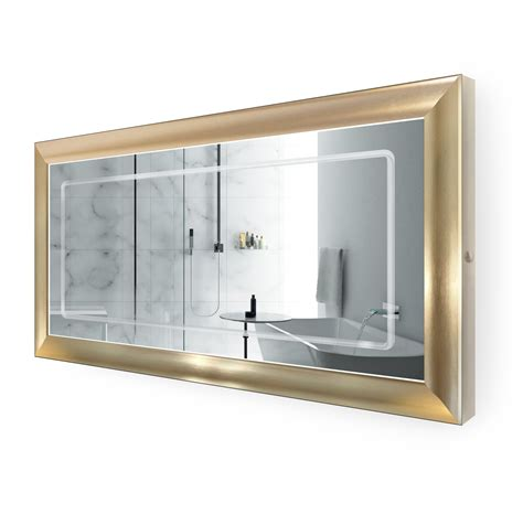 gold frame bathroom mirror led lighted 60 inch x 30 inch bathroom gold frame mirror with defogger