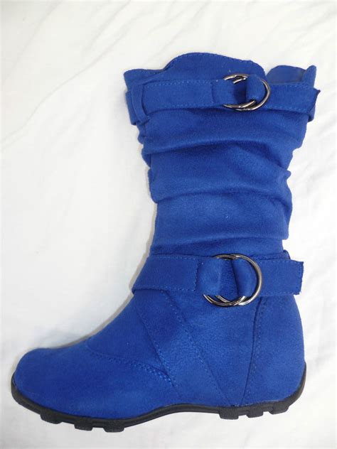 blue flat boots shoes youth size 9 4 ebay