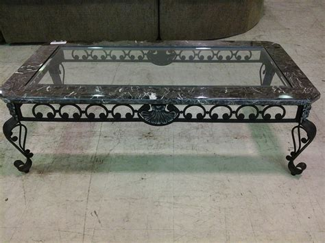 iron and marble table black wrought iron coffee table with black marble and