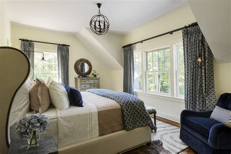 blue and tan bedroom decorating ideas pretty wingback bed in bedroom farmhouse with navy bedding