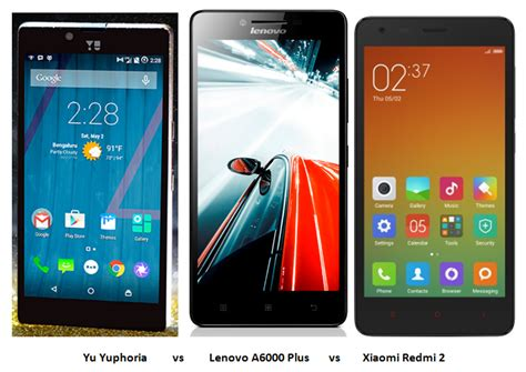 Lenovo A6000 Plus Vs Xiaomi Redmi 2 yu yuphoria vs lenovo a6000 plus vs xiaomi redmi 2 comparison with intellect digest india