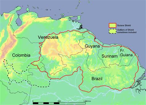 south america map highlands file map of the guiana shield png wikimedia commons