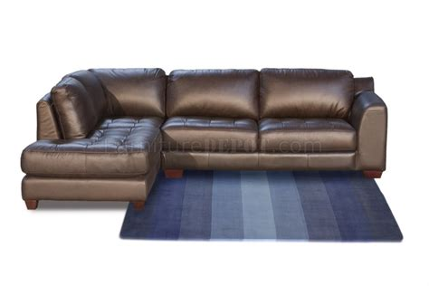 mocca top grain leather modern zen sectional sofa w options