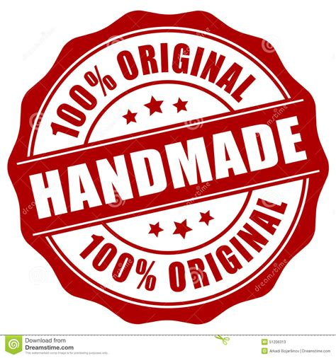 Handcrafted By - handmade st stock vector image 51206313
