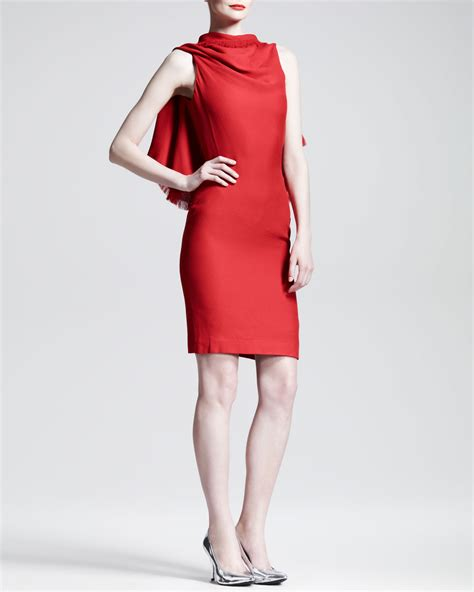 draped red dress gareth pugh triangle draped backless dress in red lyst