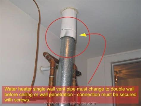 water heater vent pipe water heater inspection home inspector tips