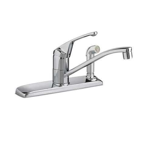 american standard colony single handle standard kitchen faucet  side sprayer  polished