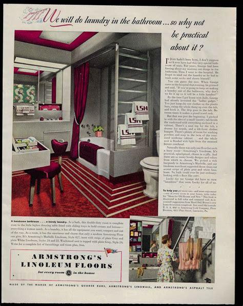 vintage print ad  armstrongs linoleum floors red