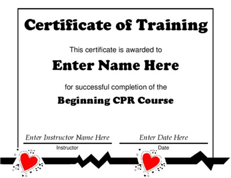 blank cpr card template award certificate templates