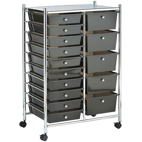 15 drawer organizer cart vonhaus black 15 drawer home office salon make up mobile