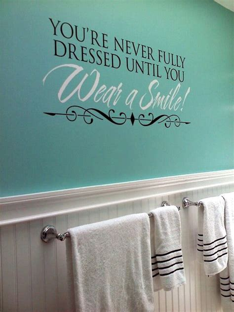 bathroom wall art sayings updated our bathroom with this fun wall quote and tiffany