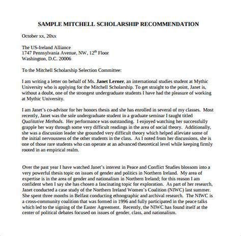 Scholarship Letter For Graduate School Sle Letter Of Recommendation For College 10 Documents In Pdf Word