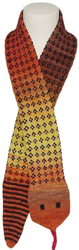 snake scarf knitting pattern fairisle novelty scarf that looks like a snake with free