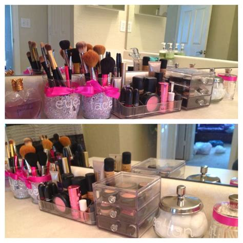 Makeup Bathroom Storage Makeup Storage But Not In The Bathroom Set Up On A Vanity Project Idea Pinterest Jars