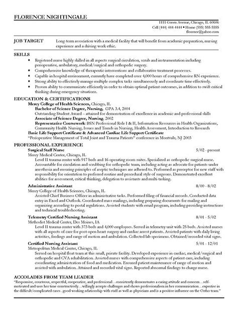 staff nurse resume exle sle resume registered