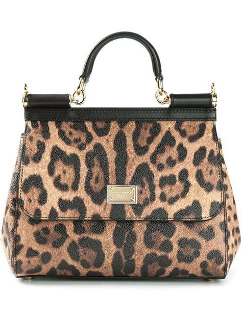 Dg Dolce And Gabbana Ocelot Print Tote by Dolce Gabbana Sicily Small Leopard Print Tote In Brown