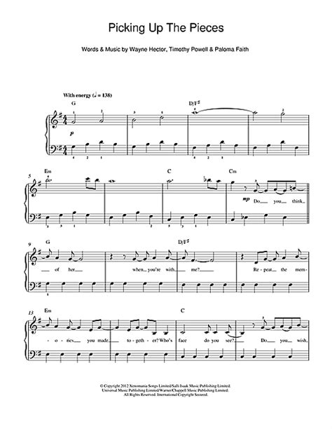picking sheet picking up the pieces sheet music by paloma faith