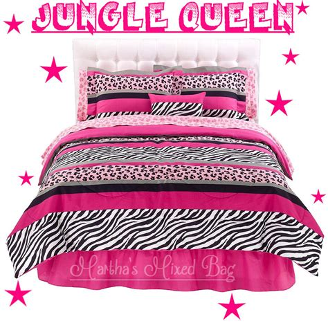 Zebra Stripe Bedding Set Jungle Chic Pink Black White Zebra Stripe Comforter Bed In A Bag Set Ebay