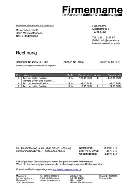 Musterrechnung Beratung Rechnungsmuster Kostenlos Rechnung Muster F 252 R Jeden Zweck