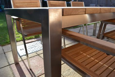 Stainless Steel And Wood Outdoor Furniture by 1000 Images About Garden Table Seating Stainless On
