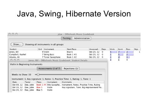 java swing version dbschools music gradebook converting to scala lift squeryl