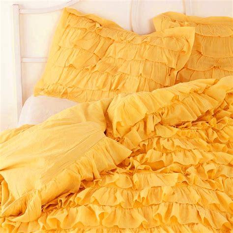 Yellow Home Decor Fabric yellow waterfall ruffle bedding set