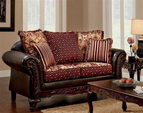 Ellis Brown And Burgundy Living Room Set Sm7507 Sf Burgundy Living Room Set