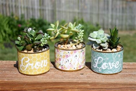 Silhoette Cameo Bekas upcycle cans into planters home made interest