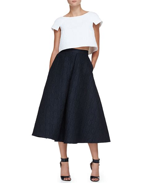 lhuillier sculpted jacquard crop top and jacquard