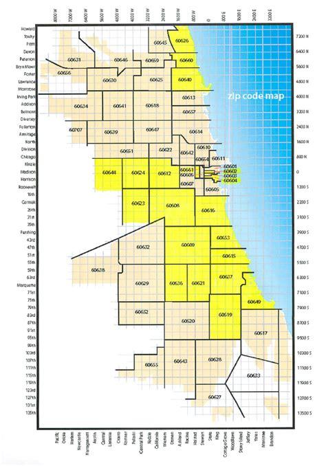 chicago area code map chicago zip code map