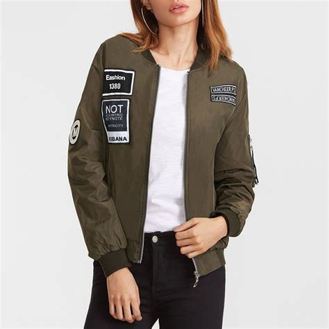 Jaket Bomber Army Ziper embroidered patch bomber jacket army jacket satin