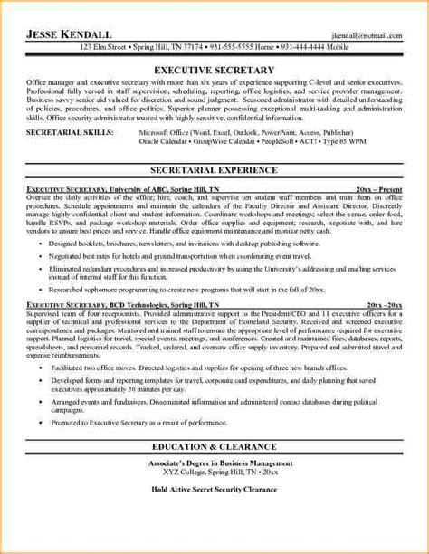 Resume Examples For Secretary by 12 Cover Letter For Executive Secretary Resume Basic