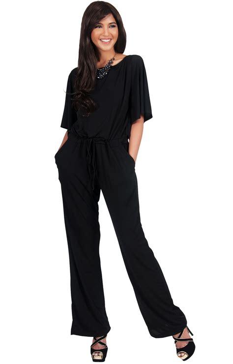 BRITTANY   Dressy Short Sleeve Boat Neck Jumpsuit