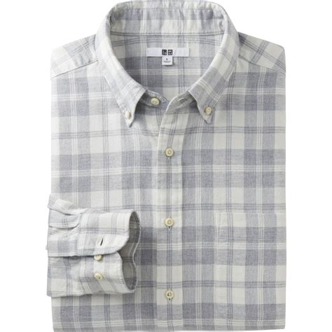 Uniqlo Flannel Shirt uniqlo flannel check sleeve shirt in gray for white lyst