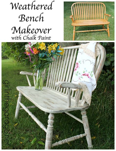 chalk paint bench weathered bench makeover with chalk paint girl in the