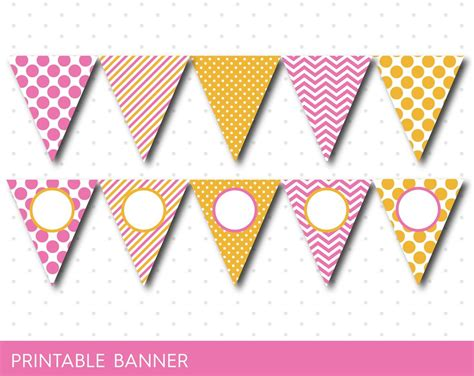 printable yellow banner yellow and pink birthday banner pink baby shower banner