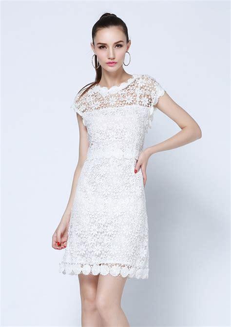 Robe Dentelle Femme - robe dentelle pour femme manches courtes blanche