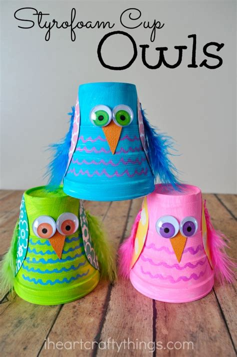 kid crafts i crafty things and colorful styrofoam cup owl